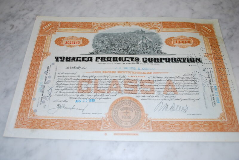 Stock Certificate - TOBACCO PRODUCTS CORPORATION – VIRGINIA 1929