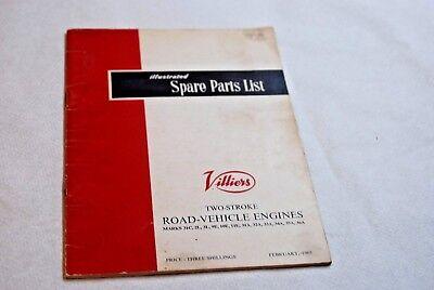 VILLIERS Mark 31A 246cc 9E 197cc L 173cc 31C 148cc Two Stroke parts list 1965