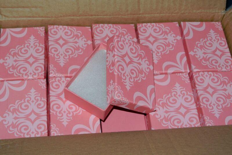 "LOT OF 20 PINK Damask Print Cotton Filled Jewelry Boxes 3 1/16"" X 2 1/8 X 1 Box"