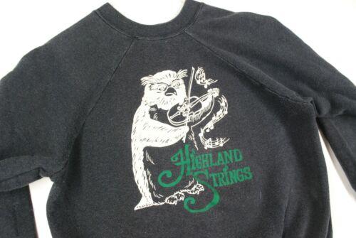 Vintage 70s Highland Strings Owl Orchestra Violin Sweatshirt Faded Black S