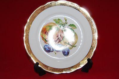 Czeckoslovakia Side Plate Wide Gilt Rim Pattern Apples and Grapes Plate Wide Rim