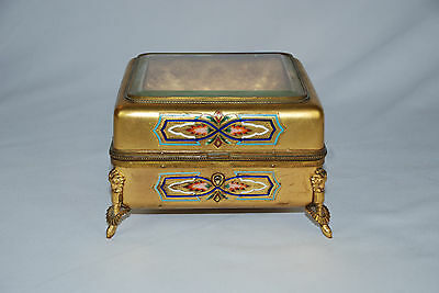 Antique Bronze Jewelry Box with Beveled Glass Top and Enamel on All Sides