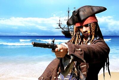Captain Jack Sparrow Pirate Hat Replica Leather Tricorn Tricorner Costume