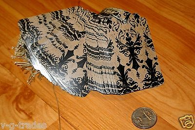 Lot 200 Large Distressed Damask Print Paper Merchandise Price Tags With String