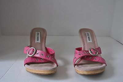 "Steve Madden ""Peter"" Pink Silver Leather Heels Open Toe Slide Shoes Size 8 1/2"