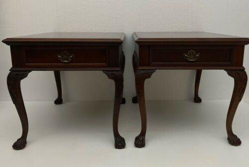 Pair PENNSYLVANIA HOUSE Chippendale Cherry Drawer End Tables Queen Anne 18-1125
