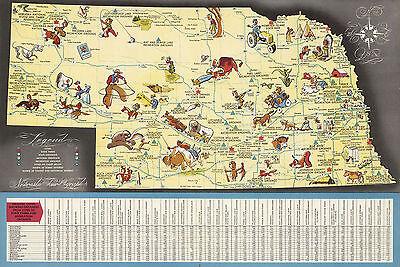 1941 Pictorial Map Nebraska Vintage History Genealogy Wall Art Poster Decor