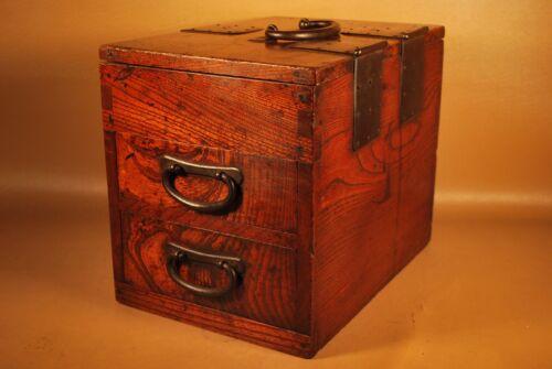 VINTAGE SIGNED 1927 JAPANESE CALLIGRAPHY TANSU CHEST / BOX / Keyaki Wood