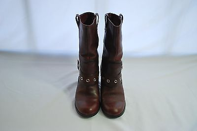 Harley Davidson Red Leather Cowboy Motorcycle Boots Women's Sz 6