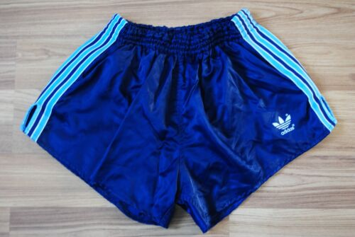 VINTAGE ADIDAS MADE IN WEST GERMANY SPRINTER BLUE POLYAMIDE NYLON GLANZ SHORTS S