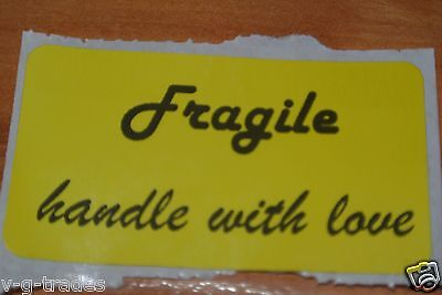 Lot Of 100 Yellow Fragile Handle With Love Shipping Stickers Care 2x1 Inch