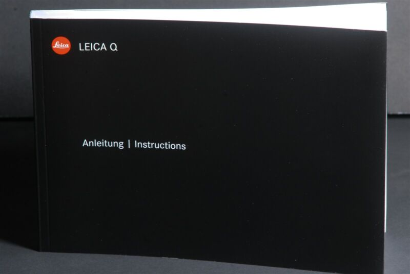Leica Q Typ 116 Camera Instruction Book / Manual / User Guide
