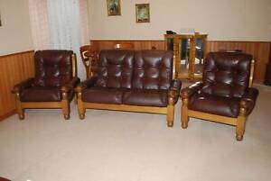 Brown Leather Lounge Suite - Couch & 2 Arm Chairs
