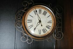 Ornate Rustic Sterling and Noble Wire Frame Wall or Mantle Clock about 17 in tal