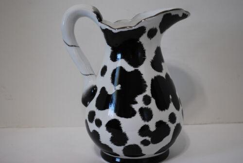 Black & White Cow Hide Design Large Ceramic Pitcher
