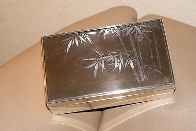 Antique Japanese Meiji pure Silver,Shibuichi and Wood Box,Bamboo Motif