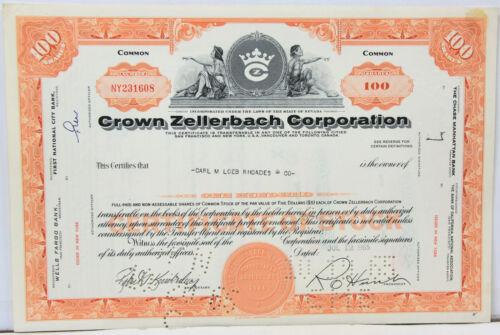 Crown Zellerbach Corporation Stock Certificate 1965 Nevada - 100 Shares