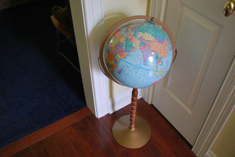 "Vintage Replogle World Nation 12"" Diameter Raised Relief Globe 31"" Pedestal"