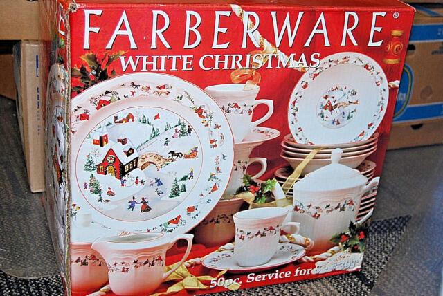 Farberware White Christmas 50 pc. Service for 8 #391 (X974) & Vintage Farberware White Christmas Dinnerware China 391 50 PC ...