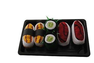 Novelty Funky Sushi Box Socks Funny Ladies Mens Gift 3 Pairs Inside