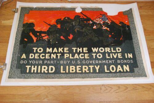 To Make World Decent Place To Live - 1918 - World War I - Propaganda Poster RARE