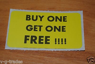 Lot 100 Yellow Buy One Get One Free Sales Price Labels Stickers Tag Retail Store