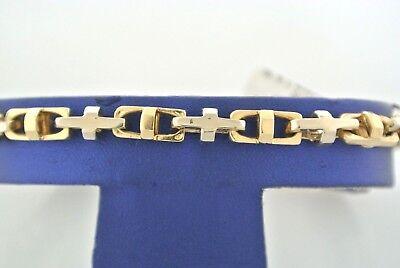 Handmade 14k Two Tone Gold Fancy Men's Chain Bracelet, 8