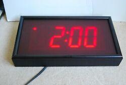 Big 4x2 Digit Digital Wall Clock Large LED Display School Office Vintage