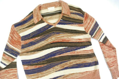 Vintage 70s Sears Kings Road Geometric Pullover Sweater Striped Mens L Mod