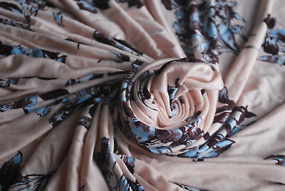 Rayon Spandex Knit Jersey Fabric Beautiful Brown/blue  flowers Print by the -