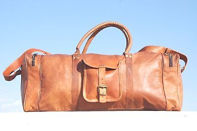 New Men's duffel genuine Leather large vintage travel gym weekend Holldall bag