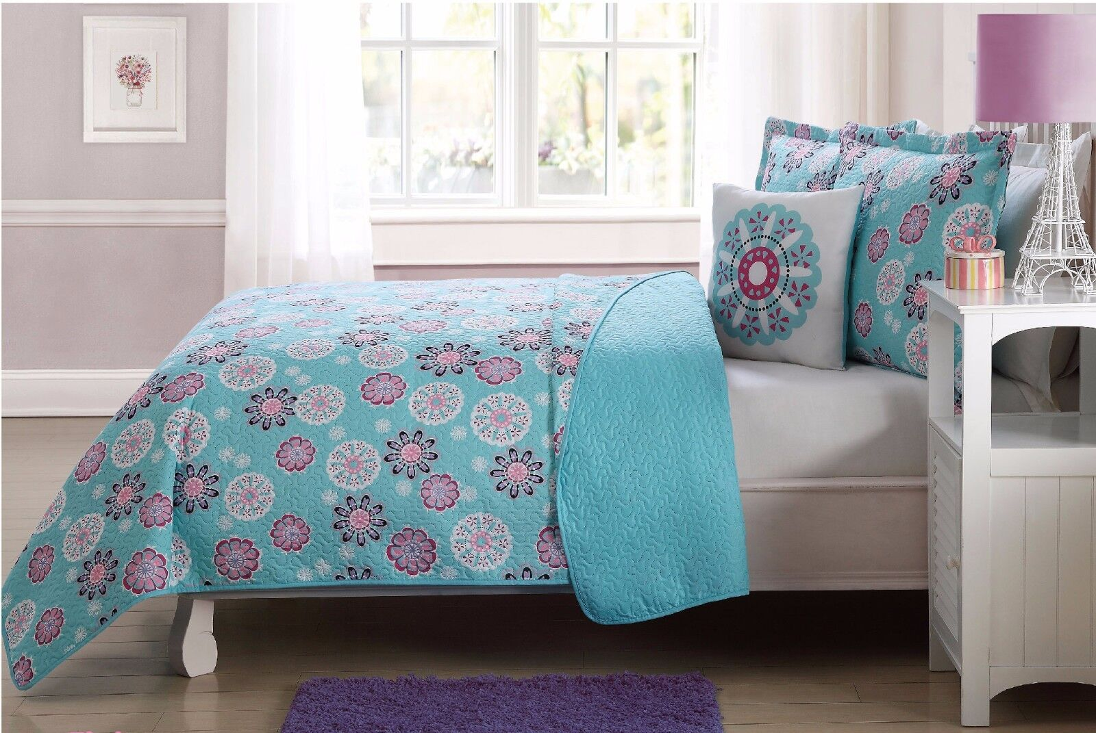 Fancy Linen 3pc Twin Size Reversible Bedspread Flakes Turquo