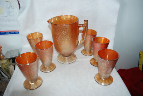 Iridescent Gold  Carnival Glass Set 6 Glass and Matching Pitcher