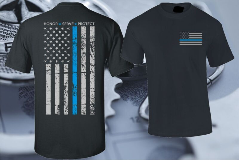 THIN BLUE LINE FLAG POLICE LIVES MATTER COPS OFFICER T-SHIRT USA PATRIOTIC