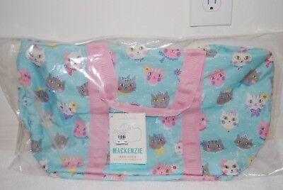 NEW Pottery Barn Kids Aqua Pink Princess Kitty Cat Duffle Bag Luggage Travel ()