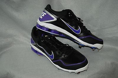uk availability 2e6f6 3cd5b Nike Shox Gamer Mens Low Black Purple Baseball Metal Cleats 467984-051 Size  16