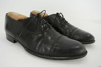 A.testoni Wilkes Bashford Italy Black Leather Cap Toe Oxford Dress Shoes 8 M