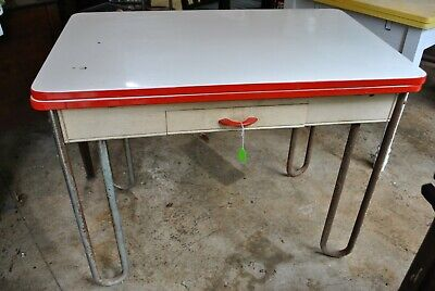 VTG 50's  ART DECO Red PORCELAIN ENAMEL KITCHEN TABLE with extending leaves](Art Deco Table)