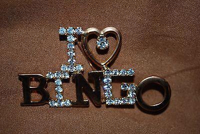 I Love Bingo Pin Brooch Gamble Las Vegas Heart Crystals Gold Free Shipping - I Love Bingo