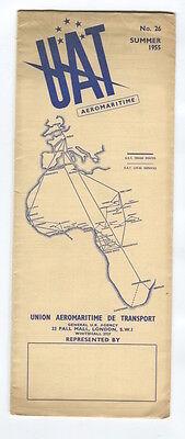 UAT AEROMARITIME TIMETABLE SUMMER 1955 NO.26 FRANCE U.A.T.