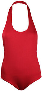 New Womens Sleeveless Halter Neck Ladies Plain Stretchy Bodysuit Leotard Top