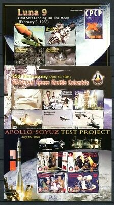 Antigua 2006 Raumfahrt Space Apollo Mir Luna Weltraum 4384-97 Block 633-635 MNH