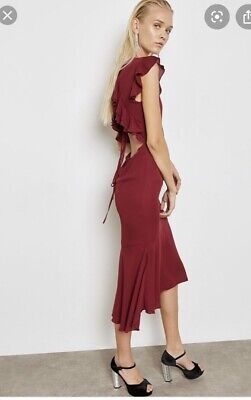 Hope And Ivy Burgundy Midi Dress 10 With Tags Open Back Party Occassion