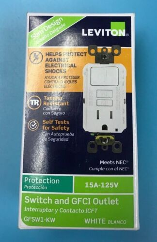 Leviton GFSW1-KW 15 Amp Switch and GFCI Outlet in White NEW!!