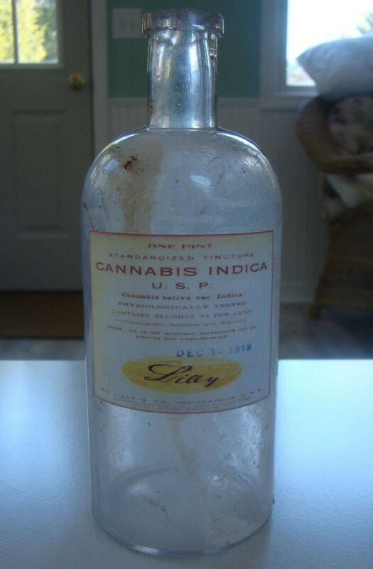 Vintage Eli Lilly & Co. Cannabis Indica U.S.P. Medicine Repro Bottle- Empty