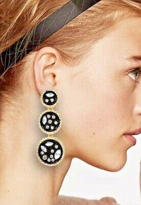 zara style black green wine green rhinestone crystal statement earrings long dro
