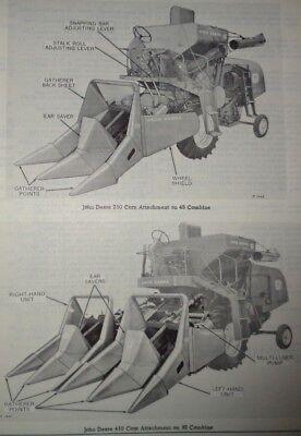 John Deere 210 410 Corn Attachments Parts Catalog Manual Fits 45 55 95 Combines