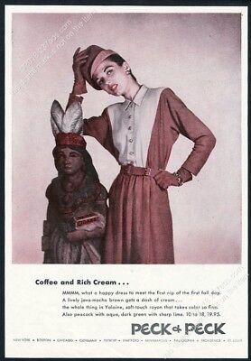 1945 cigar store wooden Indian photo Peck & Peck women fashion vintage print ad