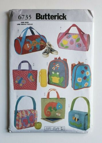 Butterick Sewing Pattern 6735 School Bags Backpack Duffle Lunch Tote Bag Uncut