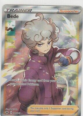 BEDE 199/202 Pokemon Sword & Shield RARE TRAINER Full Art Foil